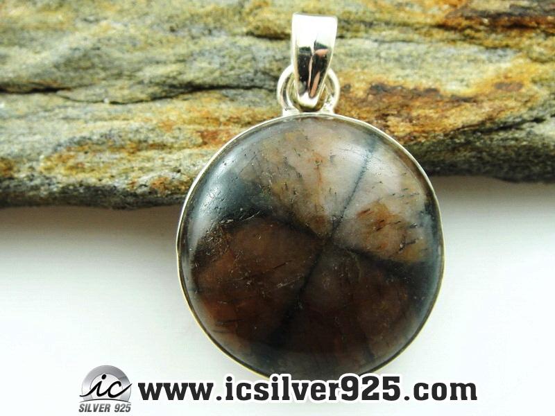 ▽ไคแอสโทไลต์ (Chiastolite-Cross stone) จี้เงินแท้ 925 (6.1g)