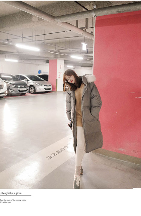 เสื้อกันหนาวผู้หญิงแฟชั่นเกาหลี สีเทา แจ็คเก็ตมีเฟอร์รอบฮู้ด ยาวคลุมเข่า ลุยหิมะ ชิวๆ