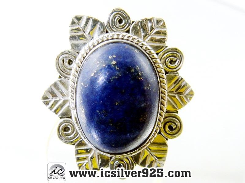 ▽ลาพิส ลาซูลี่ (Lapis Lazuli) แหวนเงินแท้ 925(แหวนเบอร์ : 59) 6.2g