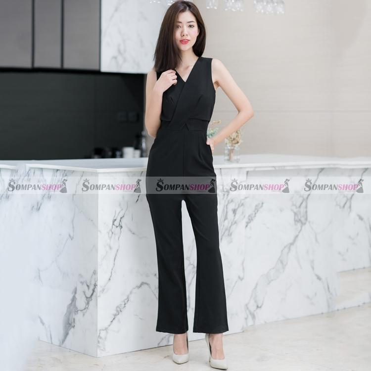 จั๊มสูทกางเกงขายาวสีดำ แขนกุด ด้านหลังแต่งลูกไม้ซีทรู แอบเซ็กซี่นิดๆ น่ารักๆ ( สินค้าพร้อมส่ง : S M L XL )
