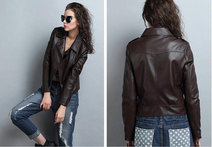เสื้อแจ็คเก็ตหนังผู้หญิง แฟชั่นเกาหลี สีช็อกโกแลต แจ็คเก็ตหนัง PU คอปก มีสไตล์ แนวเท่ๆ