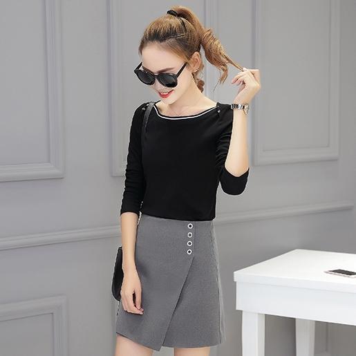 ชุดเซ็ทเสื้อ+กระโปรง โทนสีดำ เทา แนวเรียบๆ สวย น่ารัก