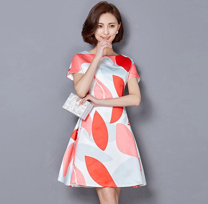 ชุดเดรสทำงานสีแดง ขาว แขนสั้น สวยๆ น่ารัก สดใส สไตล์สาวออฟฟิศ