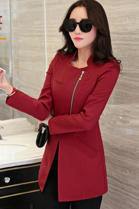 เสื้อสูทแฟชั่น เสื้อสูทผู้หญิง แขนยาว สีแดงเข้ม ตัวยาวคลุมสะโพก