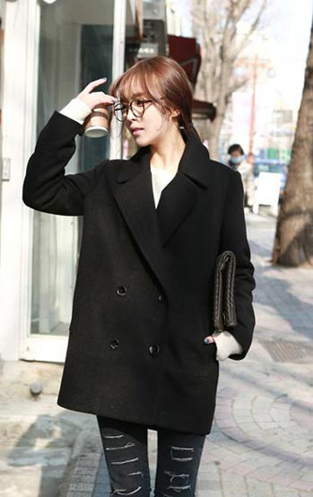 เสื้อโค้ทกันหนาวผู้หญิง สีดำ คลุมสะโพก ใส่เที่ยวต่างประเทศสวยๆ