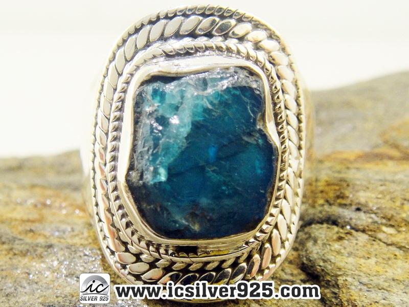 ▽นีออนอะพาไทต์ (Neon Blue Apatite) แหวนเงินแท้ 925 (แหวนเบอร์ : 57, 6.8g)