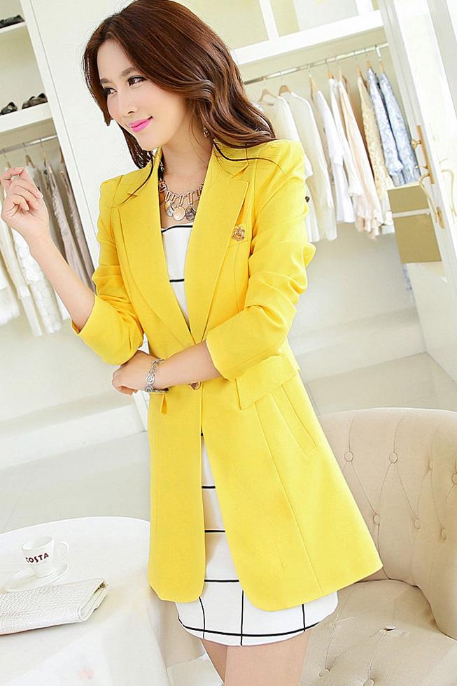 (สินค้าหมด) เสื้อสูทแฟชั่นผู้หญิง เสื้อสูททำงาน สีเหลือง ตัวยาว คลุมสะโพก แขนยาว คอปกเก๋ แต่งสายคาดเอวด้านหลัง ดีไซน์เก๋มากๆ