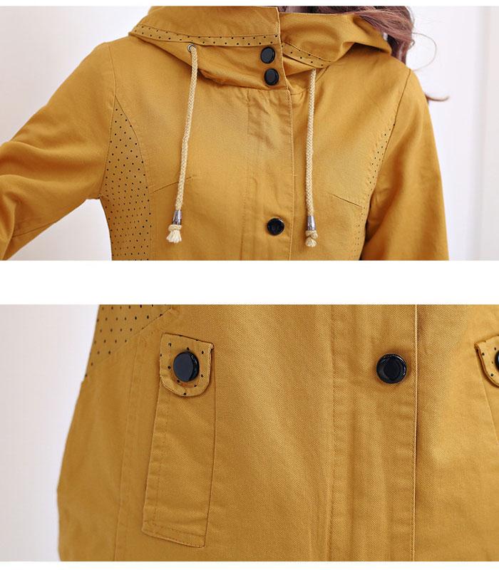 เสื้อกันหนาวผู้หญิงแฟชั่นเกาหลี สีกากี แจ็คเก็ตมีฮู้ด ตกแต่งลายจุด สวยๆ