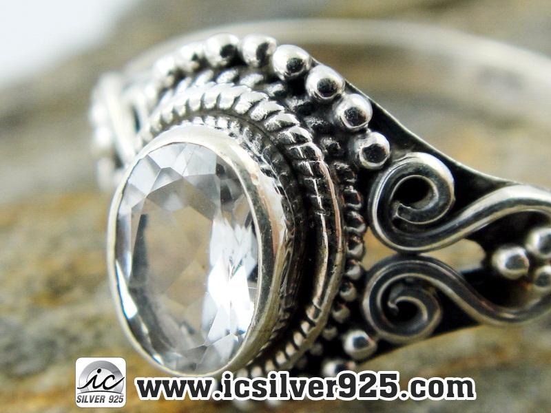 ▽โทพาซสีขาว (White Topaz) แหวนเงินแท้ 925 (แหวนเบอร์ : 57)