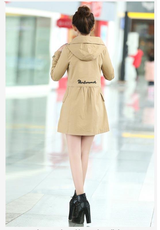 เสื้อกันหนาวผู้หญิงแฟชั่นเกาหลี สีกากี แจ็คเก็ตกันลมมีฮู้ด ตัวยาวคลุมสะโพก