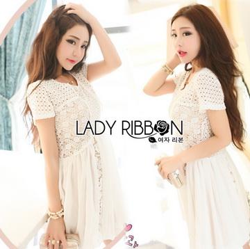 Lady Ribbon Online ขายส่ง เสื้อผ้าออนไลน์ ของแท้ ราคาถูกพร้อมส่ง เลดี้ริบบอน LR14140716 &#x1F380 Lady Ribbon's Made &#x1F380 Lady Cassnadra Pure Elegant Lace and Chiffon White Mini Dress