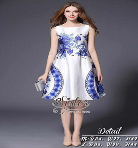เดรสแฟชั่นเกาหลีแขนกุด ลุคเรียบหรู เนื้อเสื้อผ้าผ้าpolyester+silk