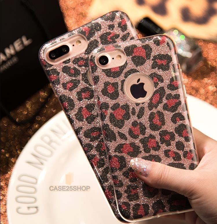 FSHANG เคสซิลิโคนกากเพชรลายเสือ (เคส iPhone 7 Plus)