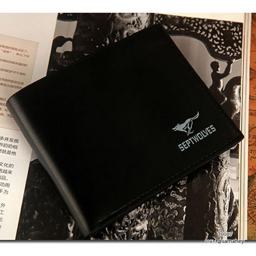 กระเป๋าสตางค์ผู้ชาย ทรงสั้น SEPTWOLVES - สีดำ