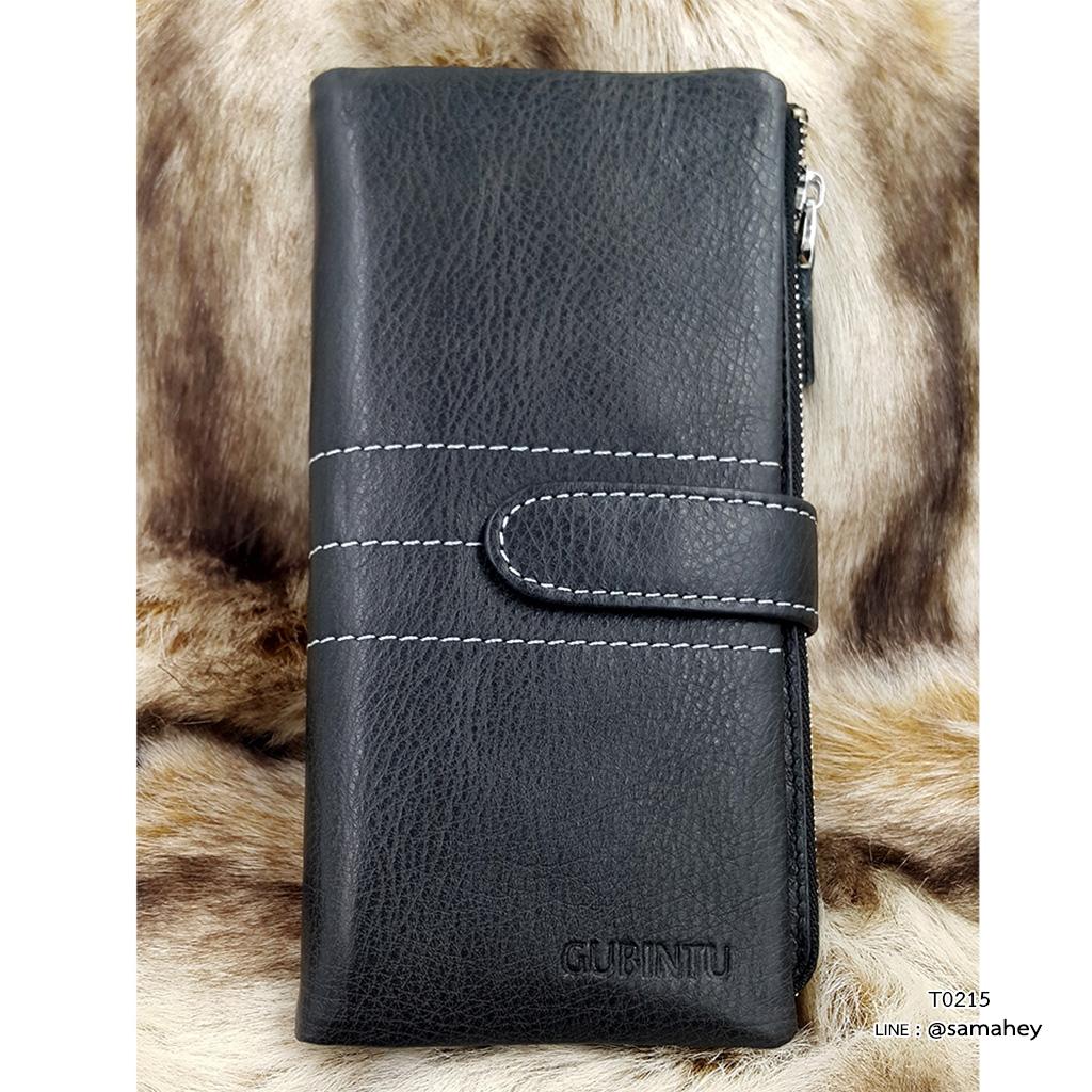 กระเป๋าสตางค์ผู้ชาย หนังแท้ ทรงยาว GUBINTU Line Button Zip - สีดำ