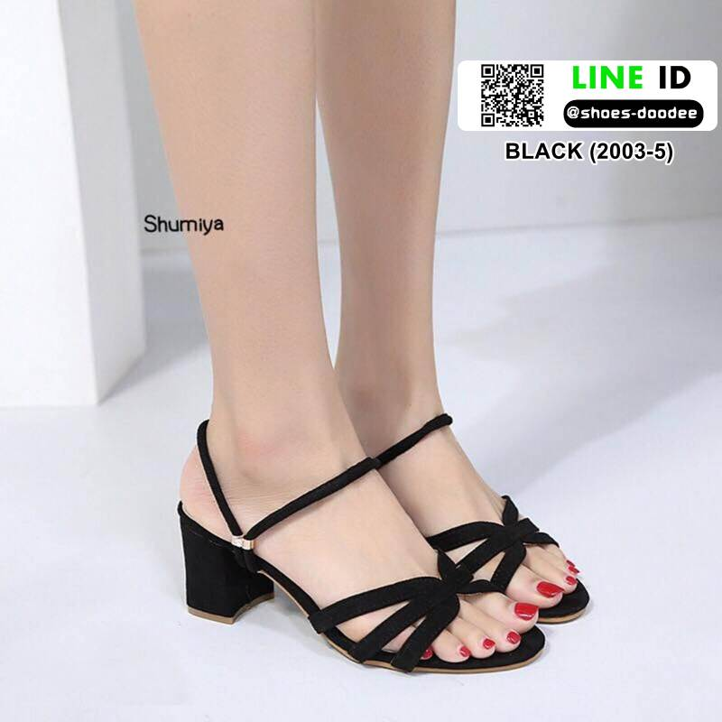 รองเท้าส้นสูงทรงเกร๋ สไตล์แบรนด์ YSL 2003-5-BLACK [สีดำ ]