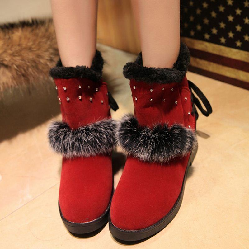 (Pre Order) รองเท้าบูทฤดูหนาวสั้นบุข้นหนา Botas ขนสัตว์อบอุ่นหิมะรองเท้าที่มีคุณภาพดี มี 2 สี แดง,ดำ ไซส์ 36,37,38,39,40