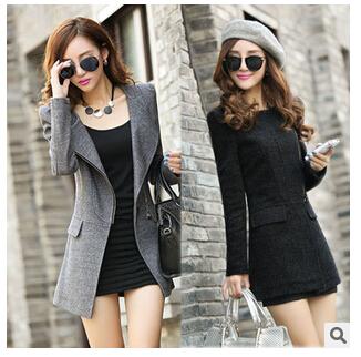 (Pre Order) เสื้อคุมผู้หญิงมาใหม่ซิปหน้าแฟชั่นผสมขนสัตว์เสื้อยาว มี 2 สี ดำ,เทา ไซส์ S,M,L,XL,XXL
