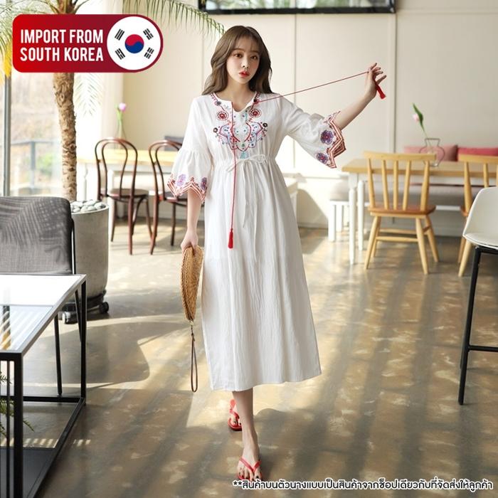 [PRE-KOREA] เดรสกระโปรงยาวปักแต่งลาย แขนสั้น (มีให้เลือก 2 สี)