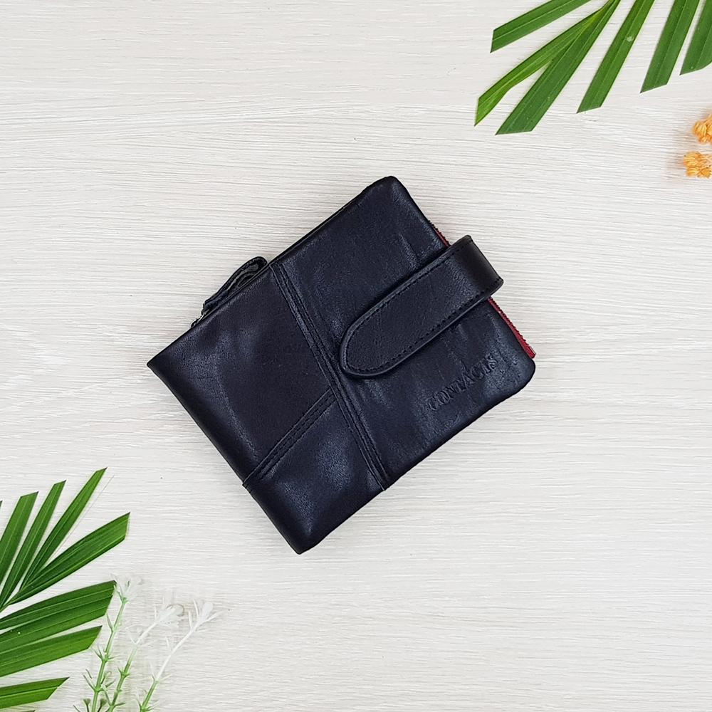 กระเป๋าสตางค์หนังแท้ ทรงสั้น สีดำ ซิปสีแดง แยกส่วนเป็นกระเป๋า 2 ใบได้