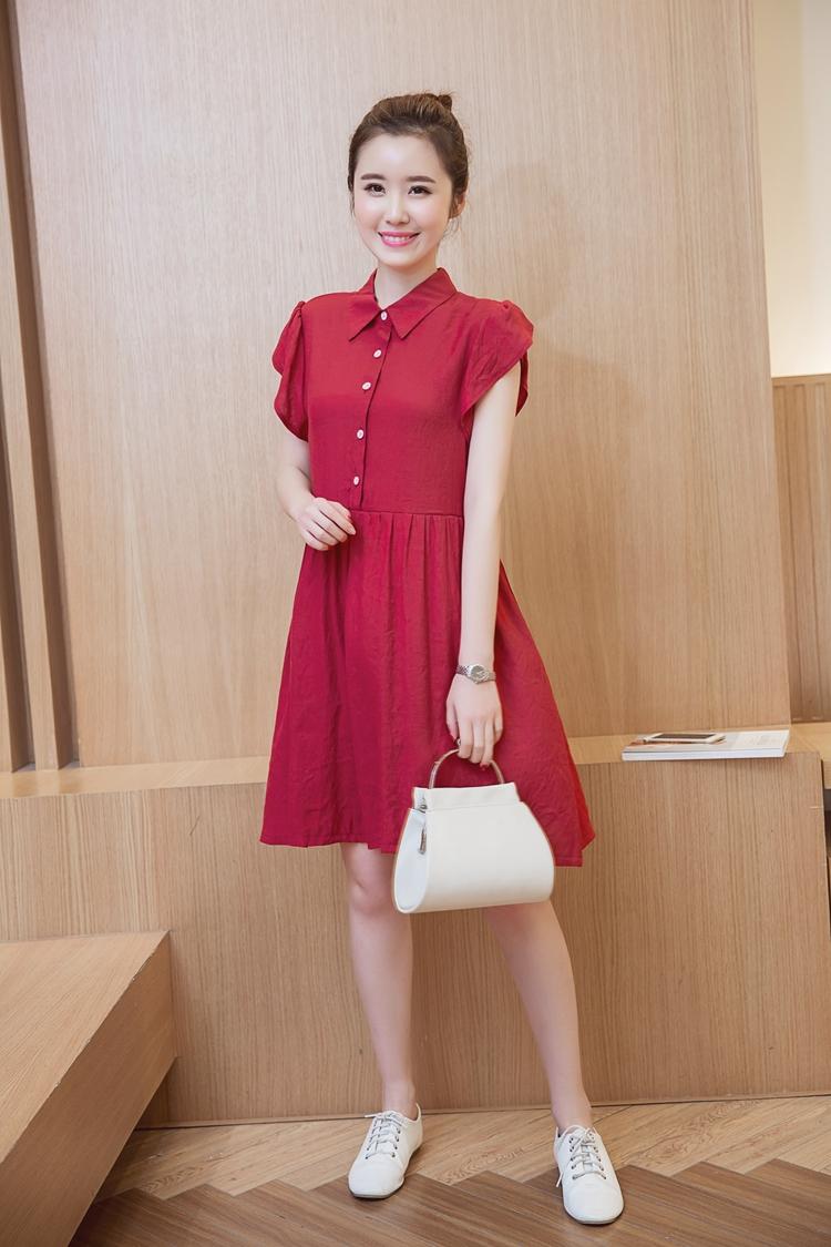 ชุดคลุมท้อง ผ้าชีฟอง สีแดง