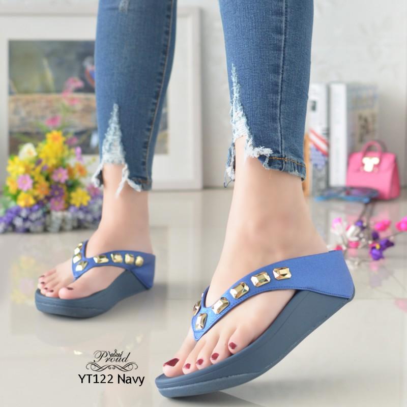 รองเท้าแตะพื้นสุขภาพสีกรม สไตล์ YT122-NAVY