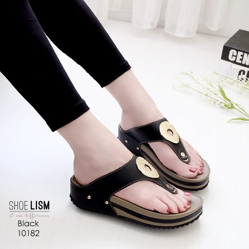 รองเท้าสุขภาพสีดำ พื้นนุ่ม LB-10182-ดำ