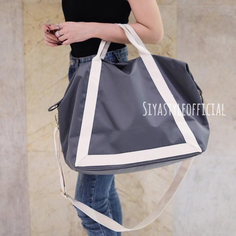 พร้อมส่ง กระเป๋าสะพายข้างผู้หญิง Shopping bag [สีเทาเข้ม]