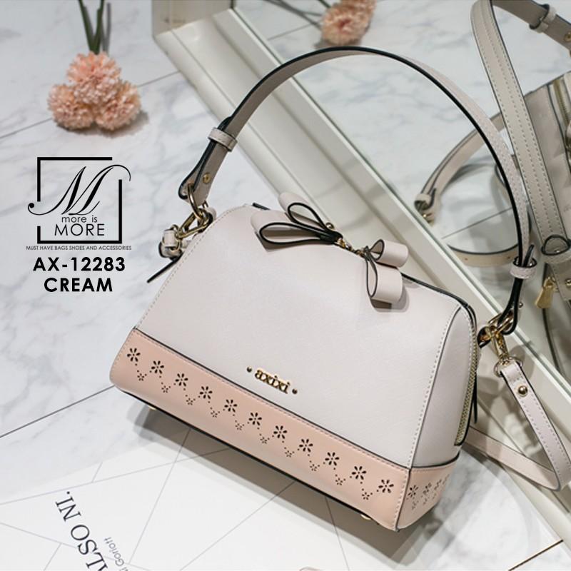 กระเป๋าสะพายกระเป๋าถือ แฟชั่นนำเข้าฉลุลายแต่งโบว์สุดน่ารัก AX-12283-CRM (สีครีม)
