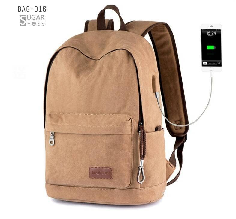 พร้อมส่ง กระเป๋าเป้ผู้ชายผ้าแคนวาส-BAG-016 [สีน้ำตาล]