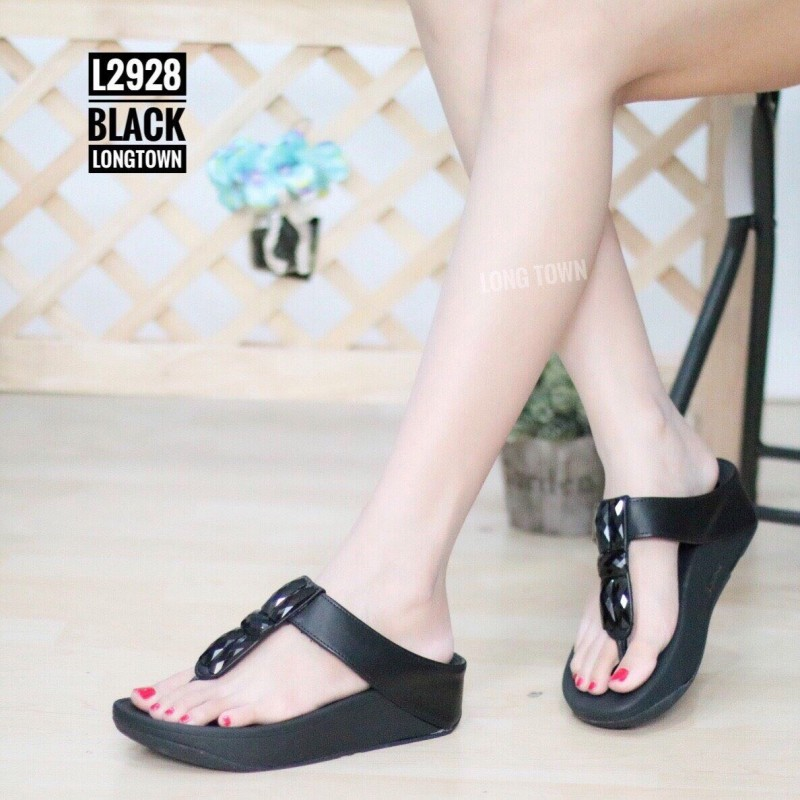 พร้อมส่ง รองเท้าเพื่อสุขภาพ ฟิทฟลอปหนีบ L2928-BLK [สีดำ]