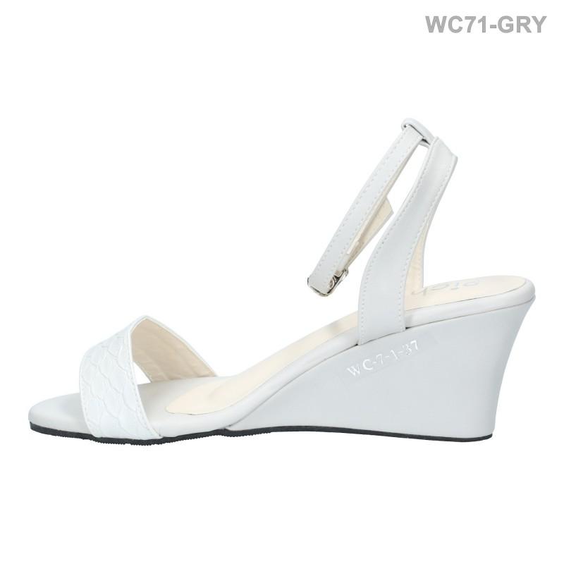 พร้อมส่ง รองเท้าส้นเตารีดแฟชั่น WC71-GRY [สีเทา]