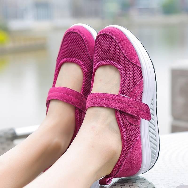 พร้อมส่ง รองเท้าผ้าใบเสริมส้นสีชมพู ผ้าทอตาข่าย สายรัดเมจิกเทป แฟชั่นเกาหลี [สีชมพู ]
