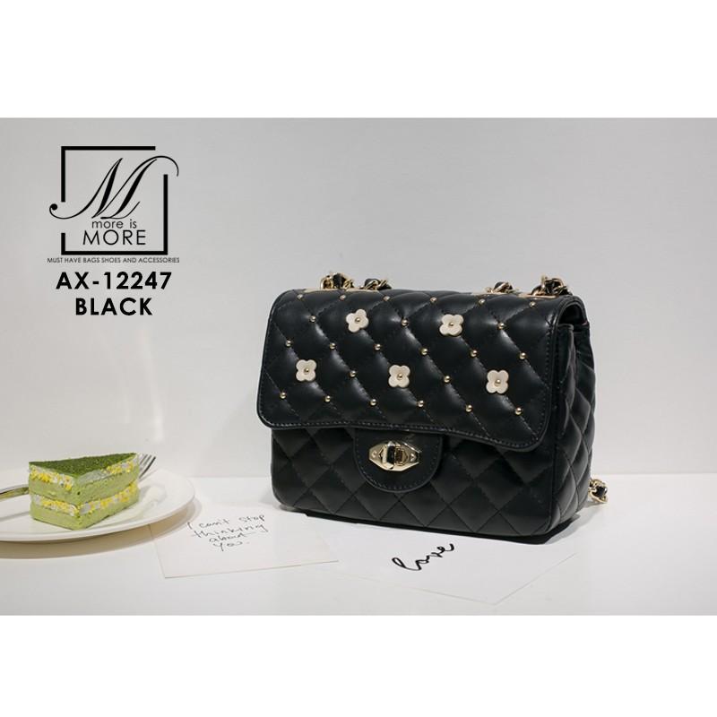 กระเป๋าสะพายกระเป๋าถือ แฟชั่นนำเข้าดีไซน์น่ารัก แบรนด์ axixi แท้ AX-12247-BLK (สีดำ)