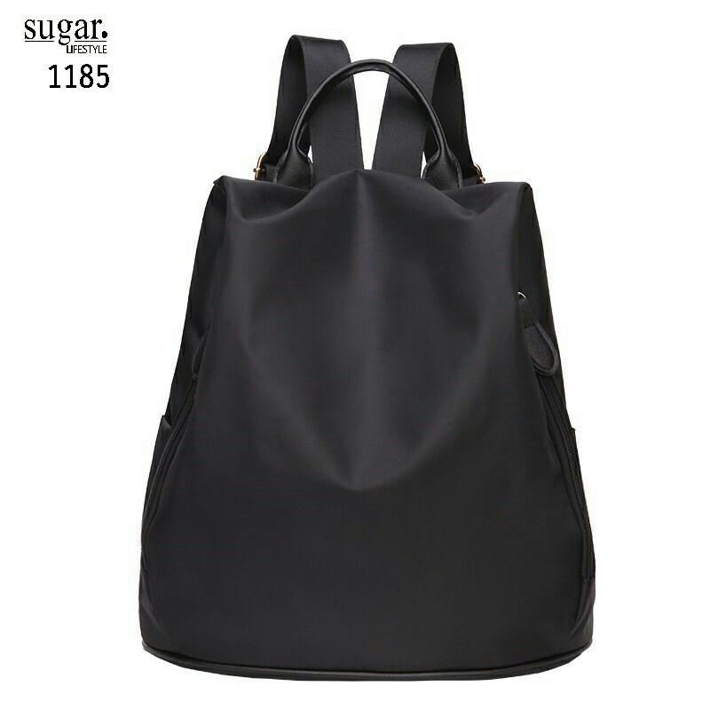แบบมาใหม่ ทรงสุดฮิต กระเป๋าเป้ผู้หญิงผ้าไนล่อนสีสันสดใส 1185-ดำ (สีดำ)