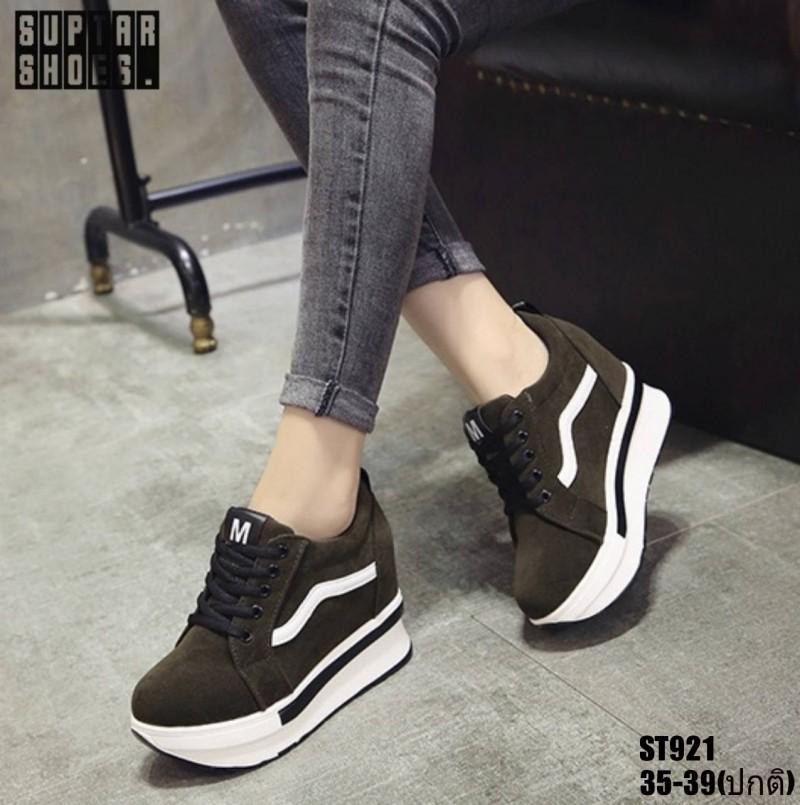 รองเท้าผ้าใบสีเขียว งานนำเข้า100% ST921-GRN