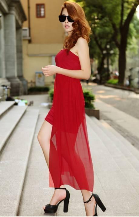 รับตัวแทนจำหน่ายชุดเดรสแฟชั่นเกาหลีสีแดงสุดเซ็กซี่ไฮโซมากๆ