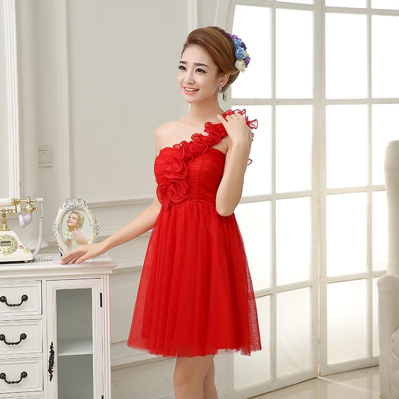 รับตัวแทนจำหน่ายชุดเดรสออกงานสีแดงดอกไม้สไบไหล่น่ารักๆ