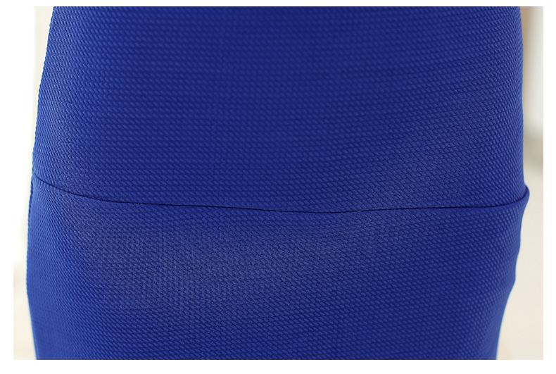 ชุดเดรสทำงานแฟชั่นเกาหลีสีน้ำเงินแขนยาว
