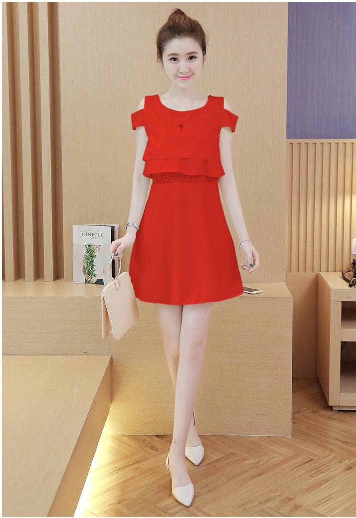 ชุดเดรสแฟชั่นเกาหลีสีแดงเปิดไหล่สวยๆ