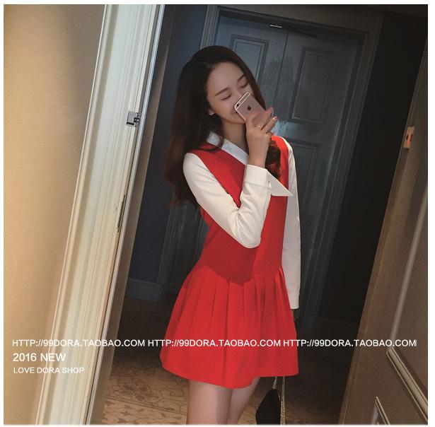 รับตัวแทนจำหน่ายชุดเดรสทำงานแฟชั่นเกาหลีสีดแดงน่ารัก