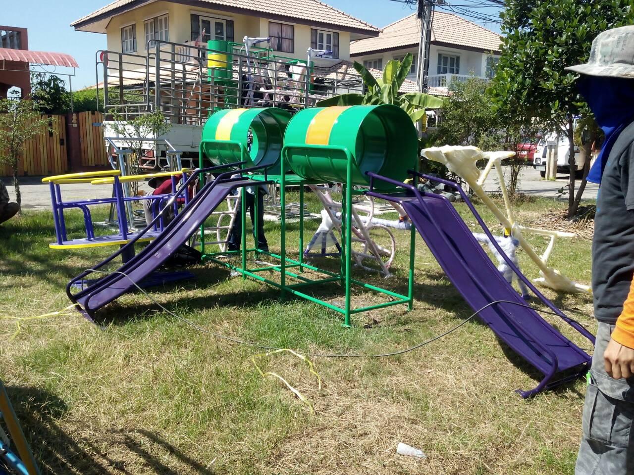 รหัส PG ผลงานติดตั้ง (หมู่บ้านบัวทองธานี3 จ.นนทบุรี) เครื่องเล่นสนามกลางแจ้งสำหรับเด็ก