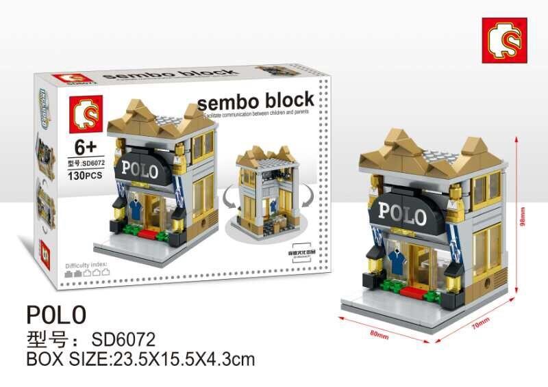 SD6072 Mini Street ของเล่นตัวต่อร้านขายเสื้อเชิ้ต Polo