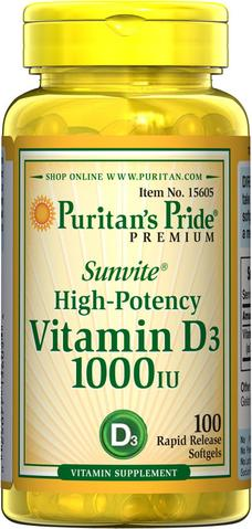 Puritan's Pride Vitamin D3 1000 IU ขนาด 100 softgels จากอเมริกาค่ะ