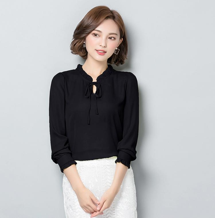 เสื้อชีฟองแขนยาวสีดำ