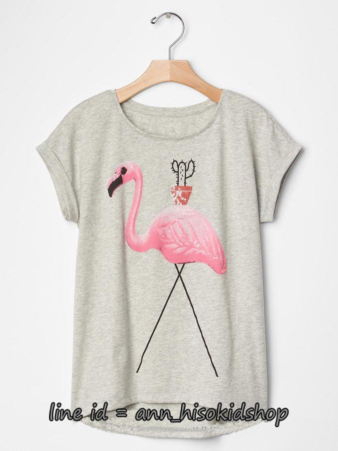 2037 GAP KIDS Short Sleeve Graphic T-Shirt - Grey ขนาด 10 ,14-16 ปี