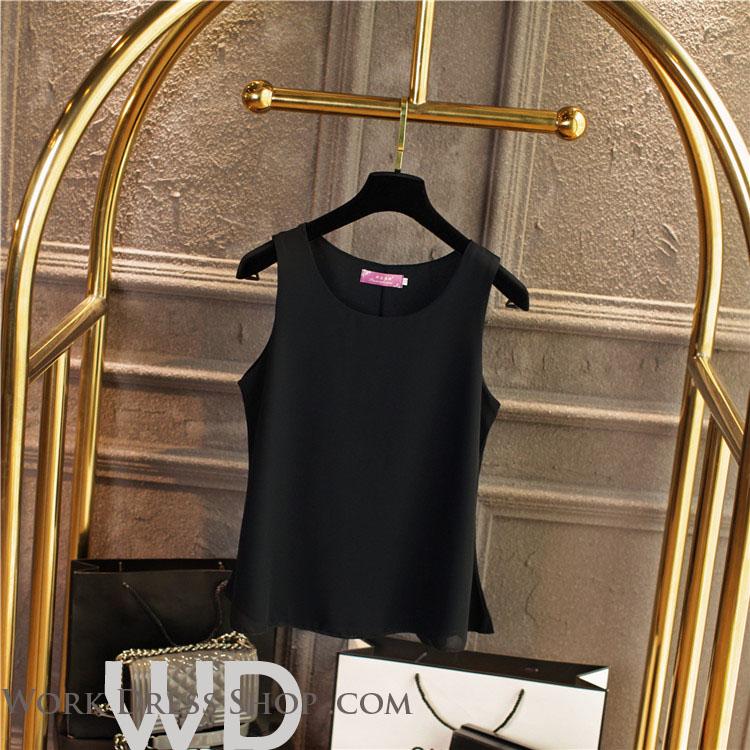 Pre-order เสื้อทำงาน สีดำ เสื้อคอกลมแขนกุด เนื้อผ้าซีฟองอย่างดีพร้อมซับใน ใส่ด้านในสูทก็สวยเก๋