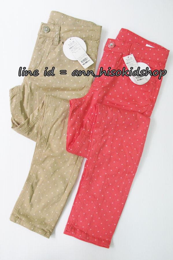 1836 กางเกงลายจุด สีเทากับสีโอโรส งานนำเข้าญุี่ปุ่น ขนาด 150