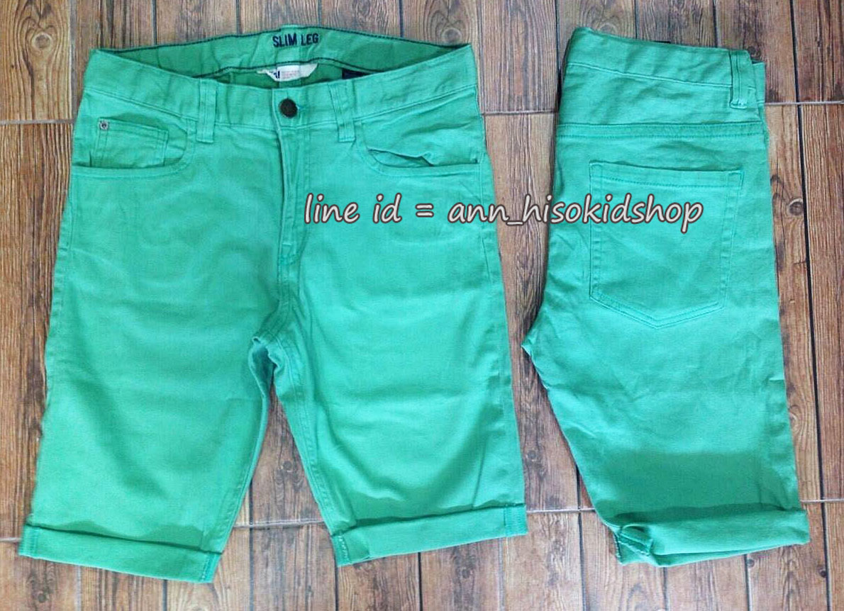 1900 H&M Boys Shorts Jeans - Green ขนาด 8-9, 9-10,12-13, 13-14 ปี