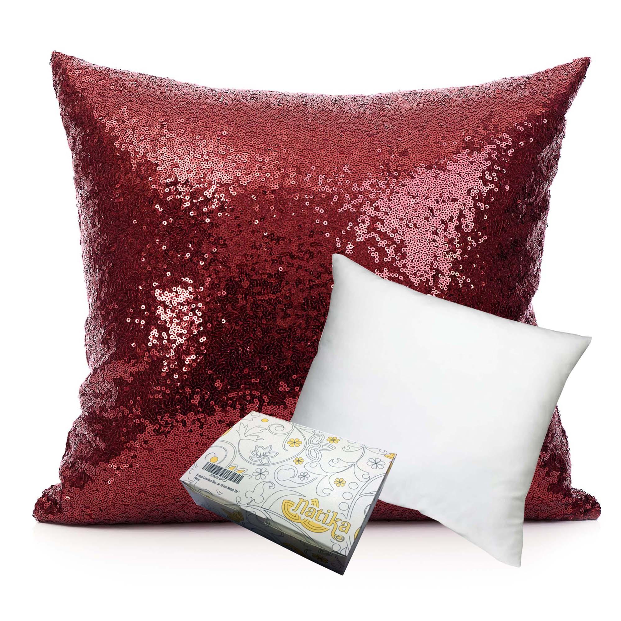 หมอนอิง Sequin Pillow Cushion Cover Pillow Case ขนาด 18 นิ้ว x 18 นิ้ว (45cm) – สีแดง Ruby